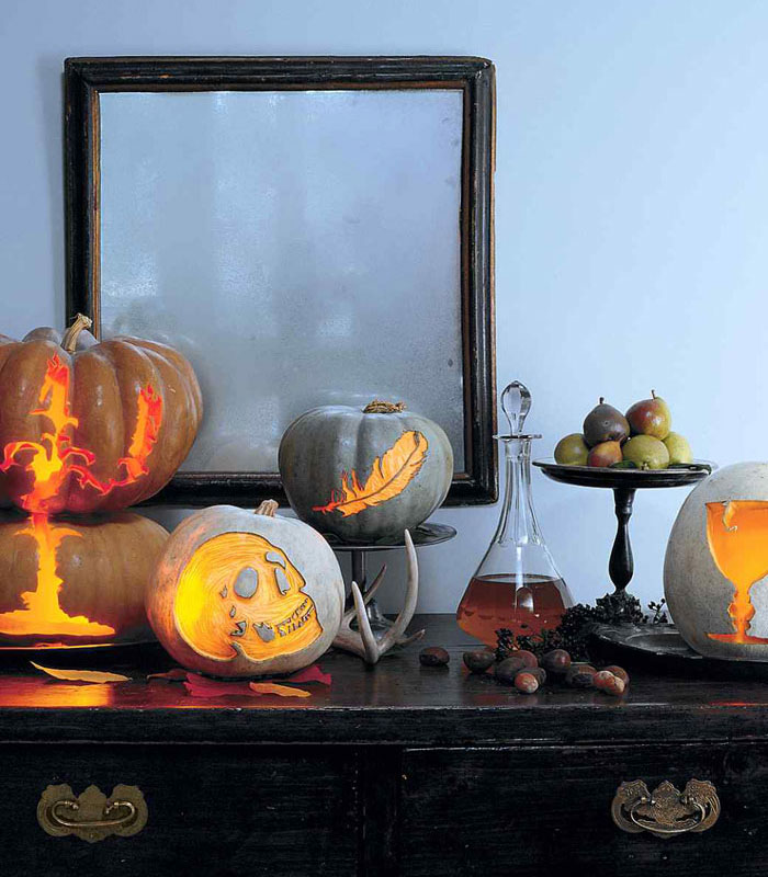 Decorating Pumpkins for Halloween - Scary Etched Silhouettes