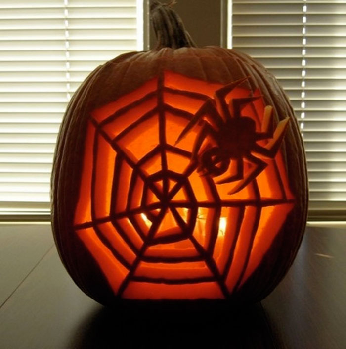 Decorating Pumpkins for Halloween - Spider Web