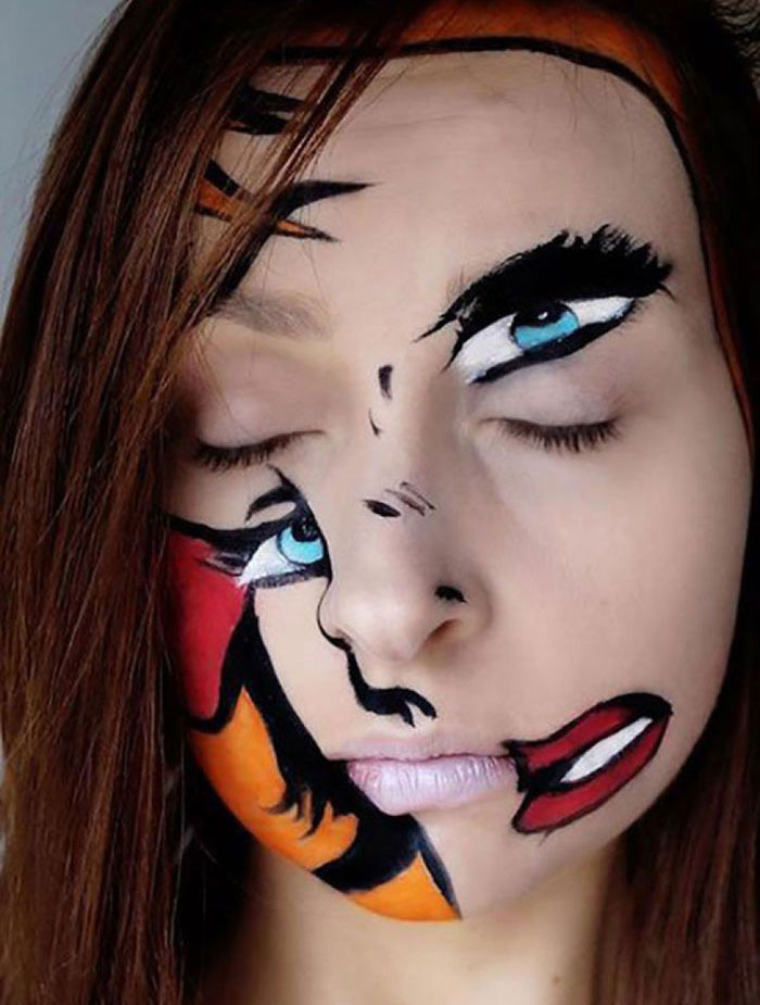 Creepy Halloween Makeup - Disturbing Face