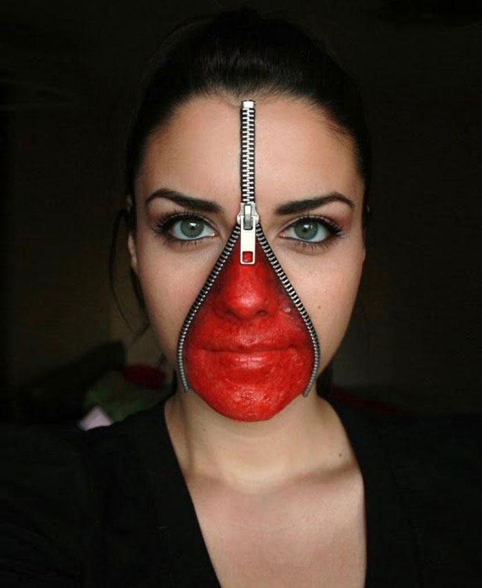 Scary Halloween Makeup - Zipped Face Make Up