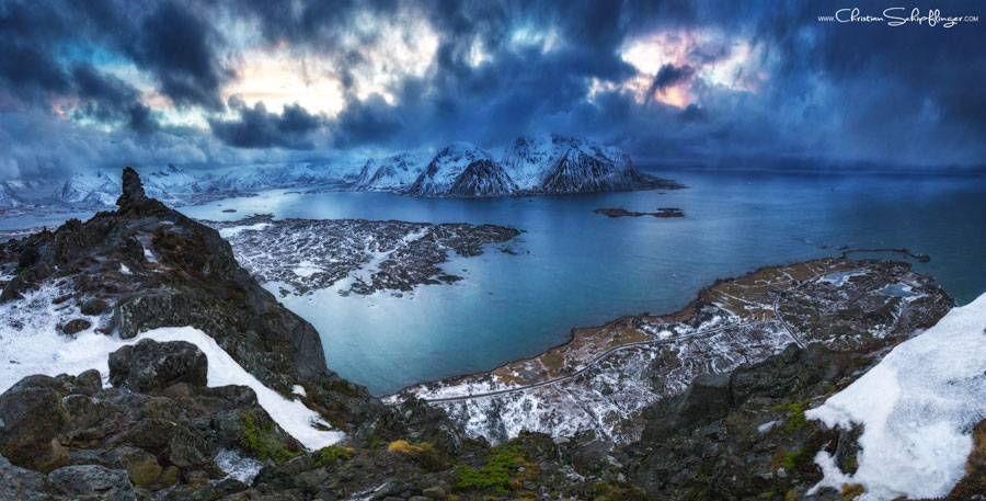 Winter Scenes - Mount Hoven, Lofoten Island, Norway