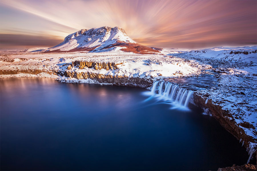 Winter Scenes - Thjofafoss Waterfall, Iceland