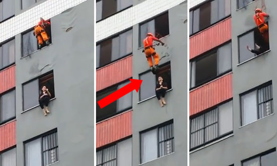 Watch A Hero Fireman Saving A Suicidal Woman's Life Like A Boss, By Drop Kicking Her!