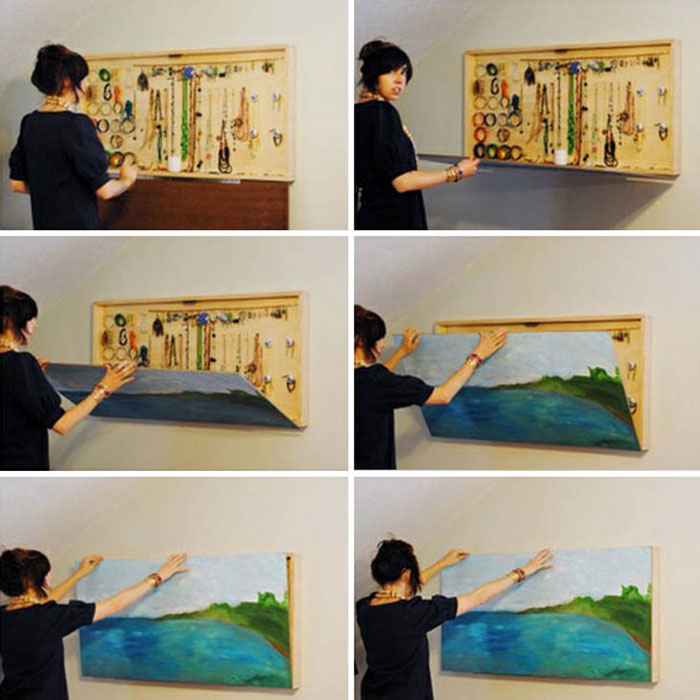 Furniture Design Ideas - Painting that doubles as jewelry storage