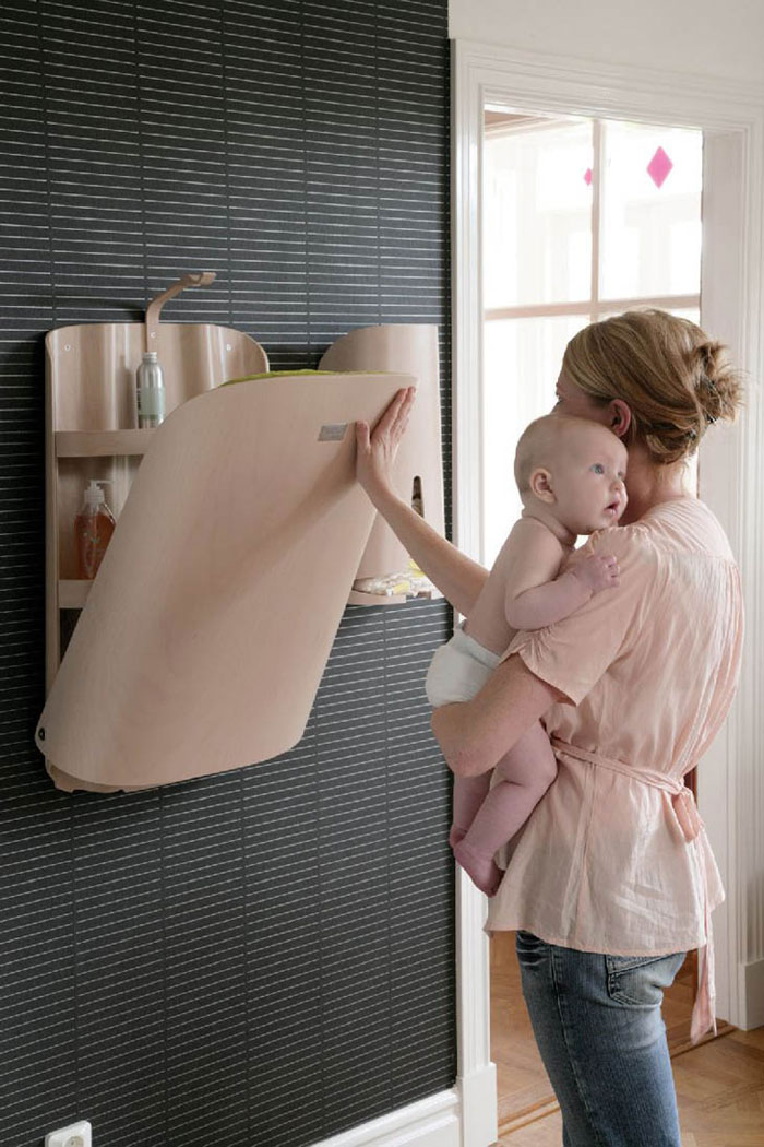 Creative Furniture Design Ideas - Combination changing table and care product storage