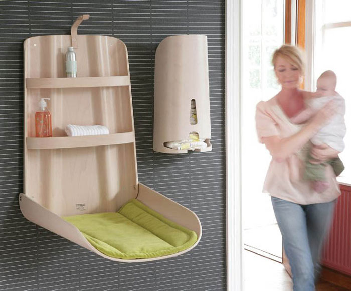Furniture Design Ideas - Combination changing table and care product storage