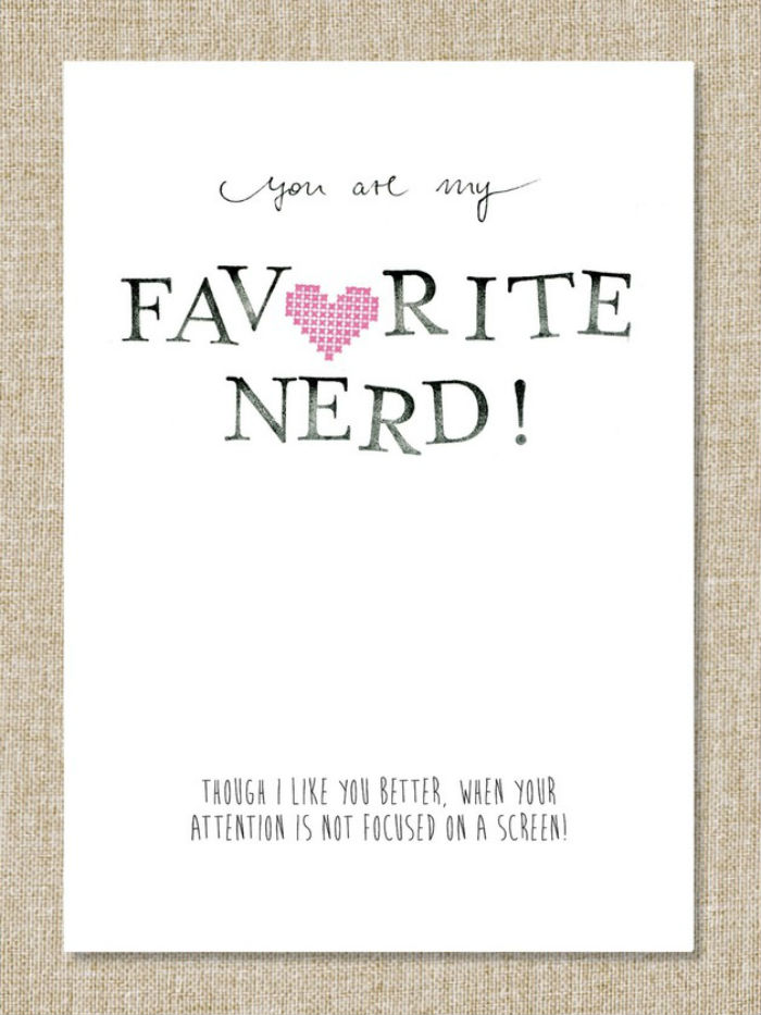 Funny Valentine's Day Cards - You are my favorite nerd