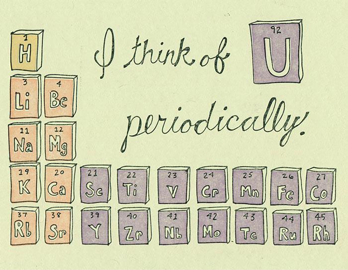Nerdy Valentine's Day Cards - I think of you periodically