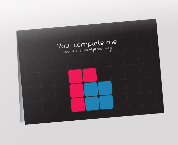 Nerdy Valentine's Day Cards - You complete me.. in an incomplete way