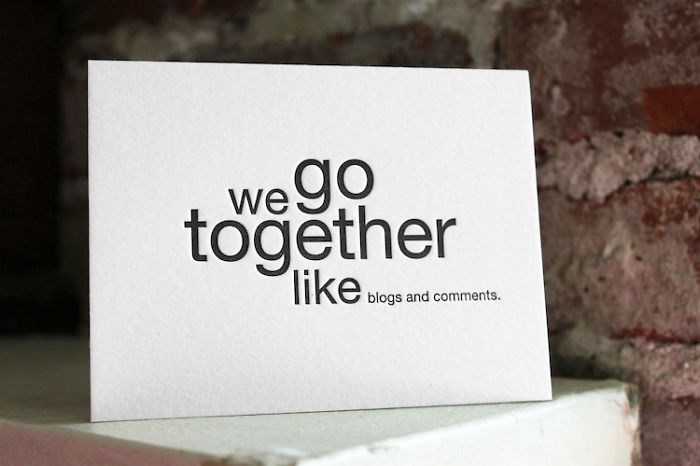 Funny Valentine's Day Cards - We go together like blogs and comments