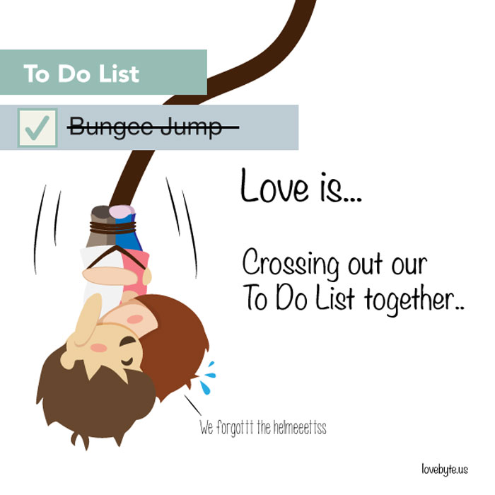 Signs of True Love. Love is... crossing out our to do list together