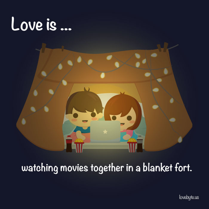 What Is The Definition of True Love? Love is... watching movies togehter in a blanket fort