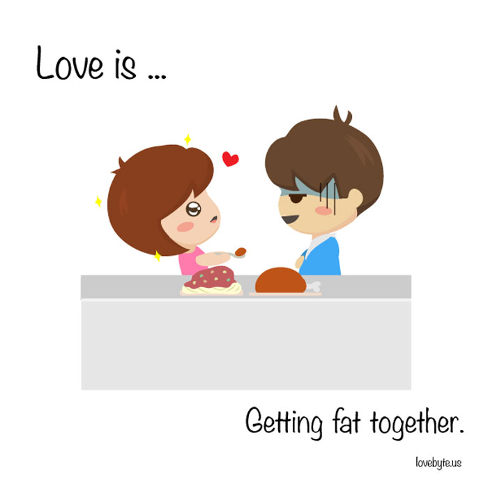 What Is The Definition of True Love? Love is... getting fat together