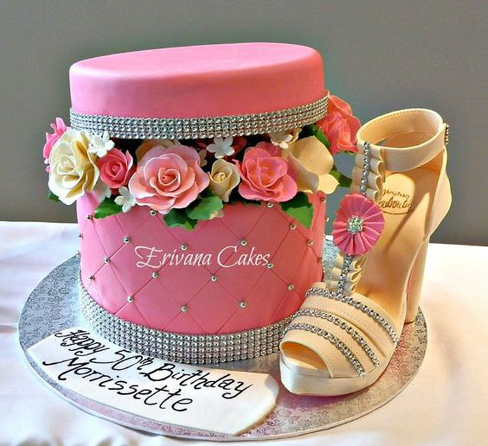 Cool Cakes - Box of Flowers With Gumpaste Shoe Cake