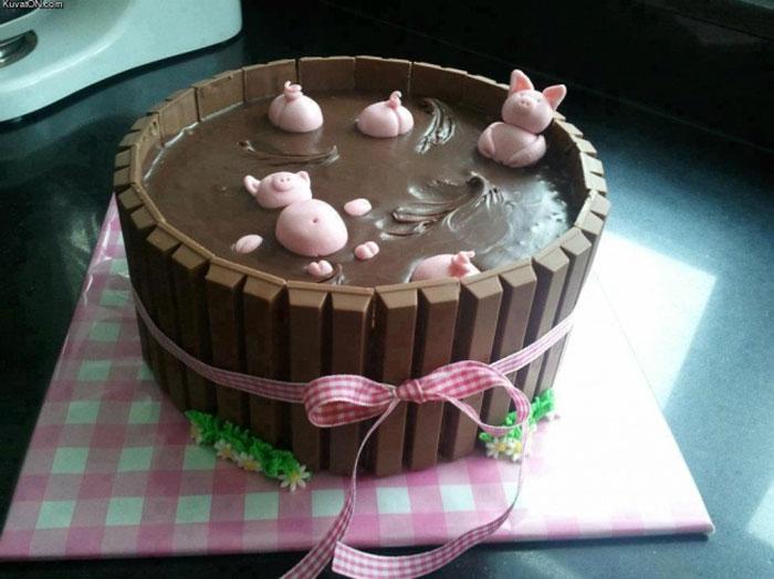 Cake Decorating Ideas - Piggies in The Mud Cake