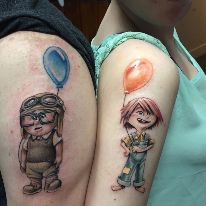 Matching Couple Tattoos - Ellie & Carl Tattoos from UP