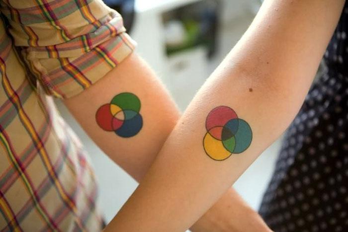 Matching Tattoo Ideas for Couples - Venn Diagram Couples Tattoos