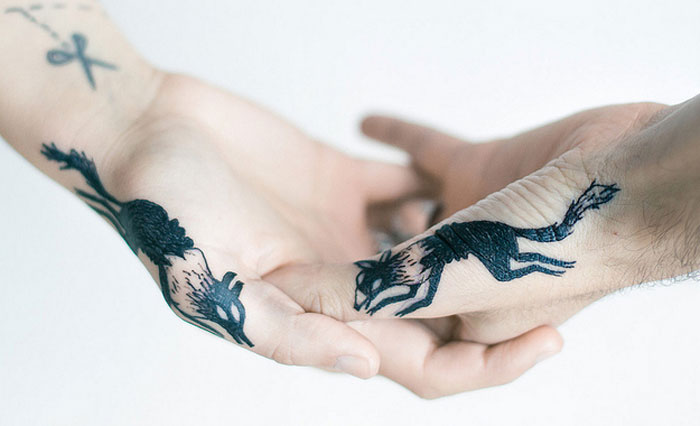 Couples Tattoos - Wolf
