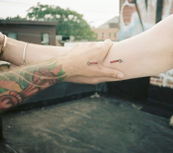 Matching Couple Tattoos - Fire Crackers
