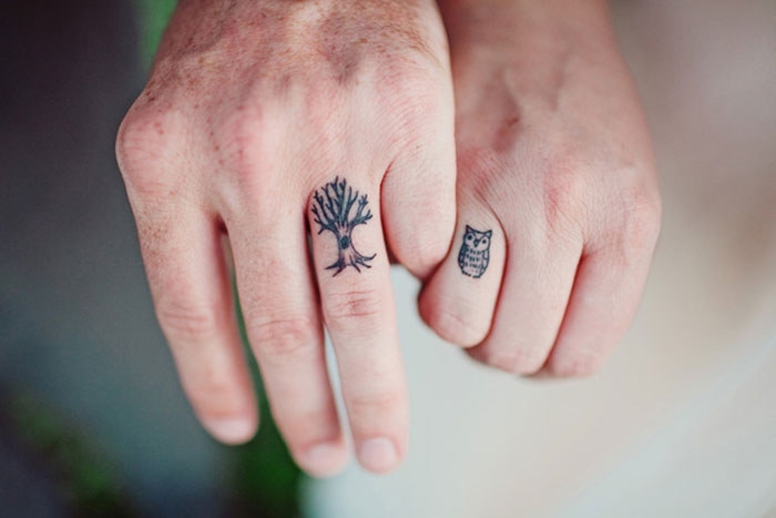 Tattoos for Couples - Owl and Tree