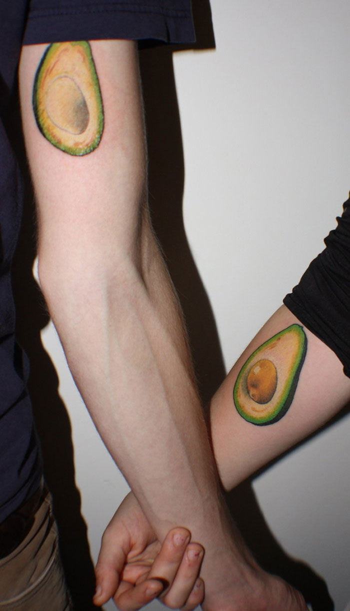 Matching Tattoo Ideas for Couples - Avocado Fruit