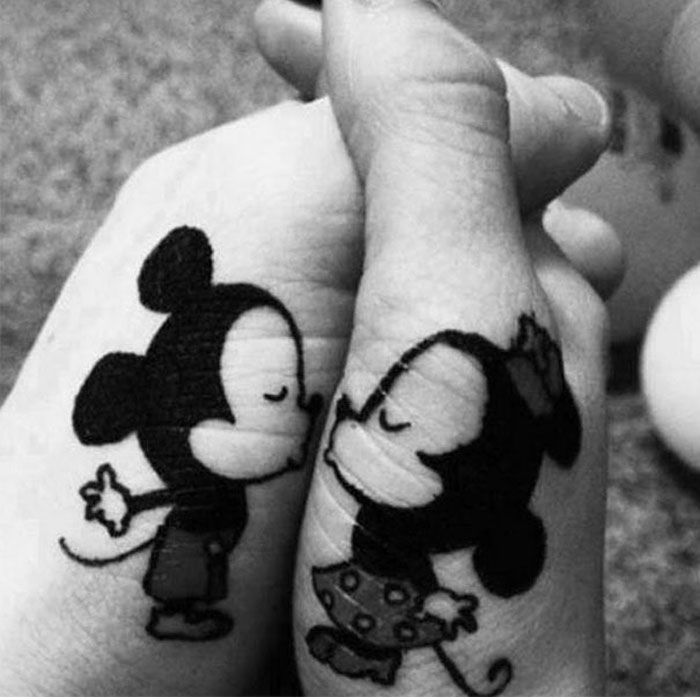 Matching Tattoo Ideas for Couples - Mickey and Minnie