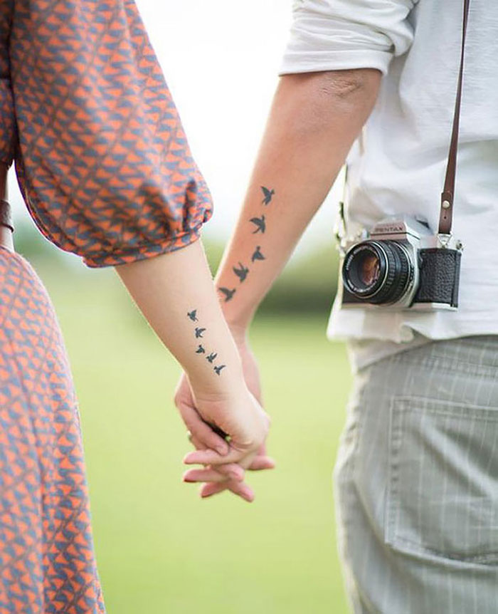 Couples Tattoos - Birds Couple Tattoos