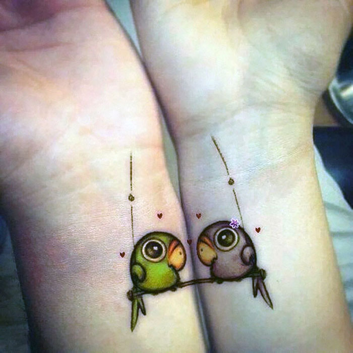 Couples Tattoos - Cute Parrot Couple