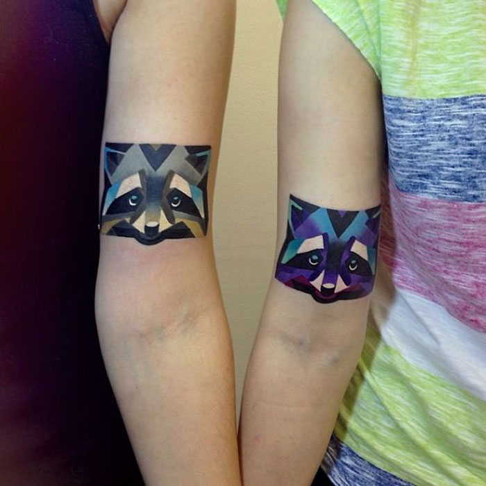 Matching Couple Tattoos - Fox Couple