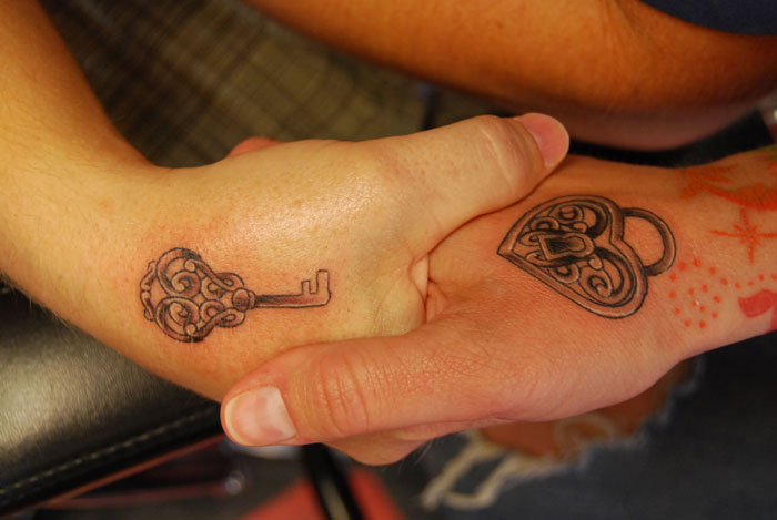 Matching Couple Tattoos - Lock and Key