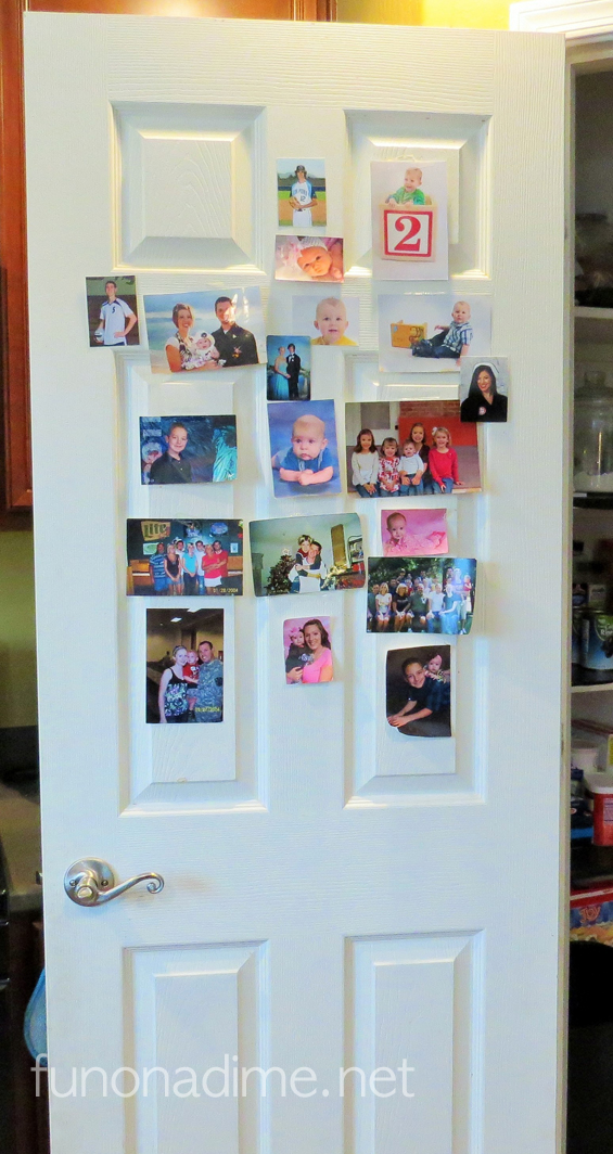 personalizing the pantry door with family pictures