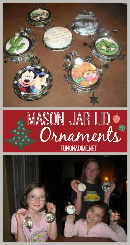 Vertical Mason Jar Lid Ornaments