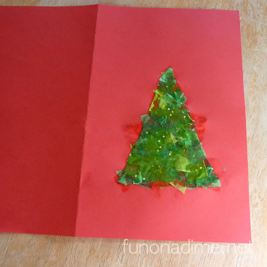 Simplifying Our Holidays - Easy Kid Made Card uses scrap tissue paper and other supplies we already have in our house!