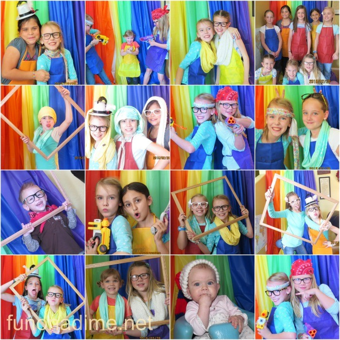 rainbow art party photo booth