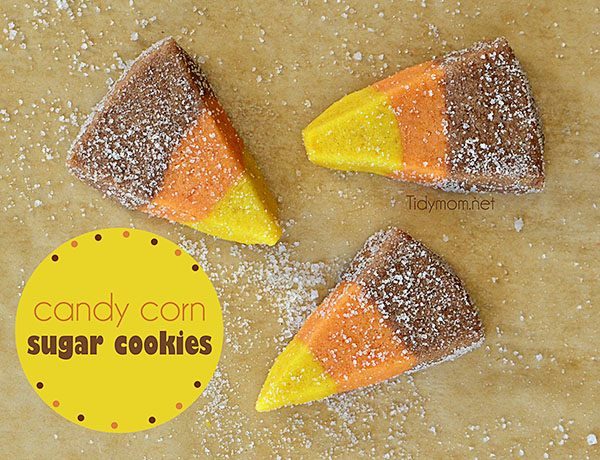 50+ Candy Corn Halloween Inspired Treats and Snacks Easy Candy Corn Sugar Cookies