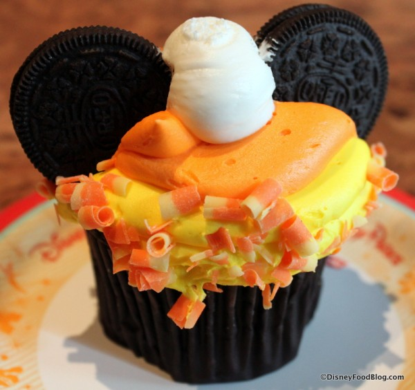 50+ Candy Corn Halloween Inspired Treats and Snacks - disney cupcake with Mickey mouse ears