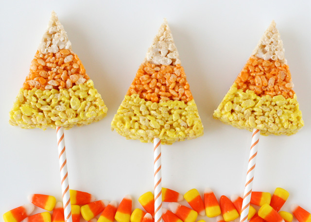 50+ Candy Corn Halloween Inspired Treats and Snacks Candy Corn Crispie Treats