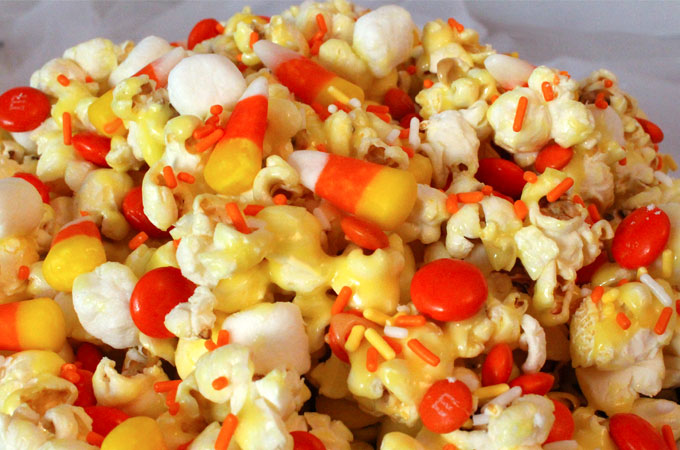 50+ Candy Corn Halloween Inspired Treats and Snacks popcorn