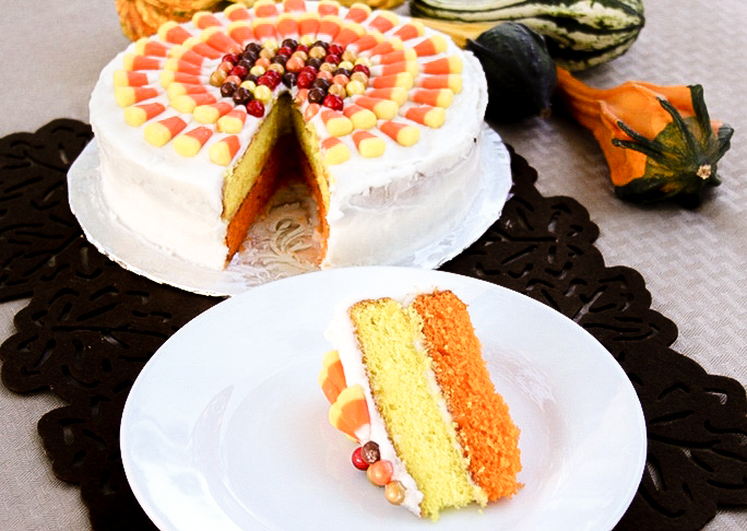 50+ Halloween Candy Corn Inspired Treats and Snacks Candy Corn Cake