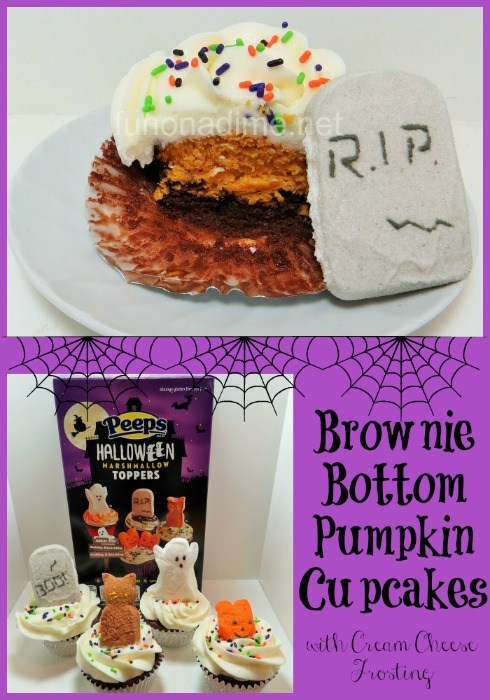Brownie Bottom Pumpkin Cupcakes with Cream Cheese Frosting #SpooktacularSnacks #GetYourBettyOn [Ad]