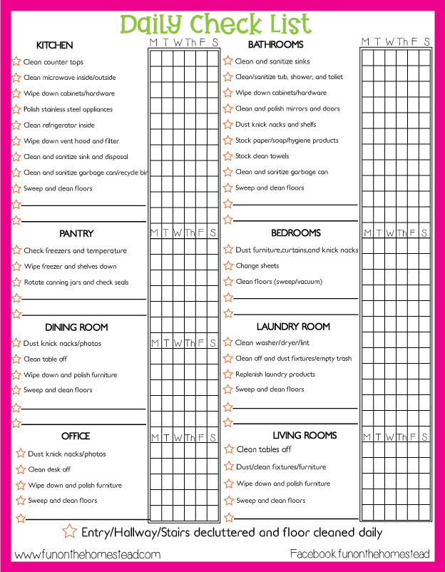 Printable Cleaning List for download