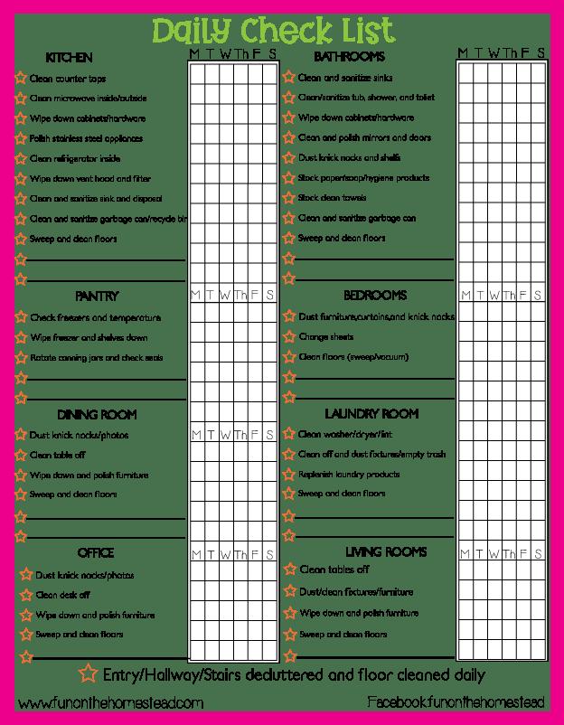 Cleaning Checklist Organization Help Fun On The Homestead