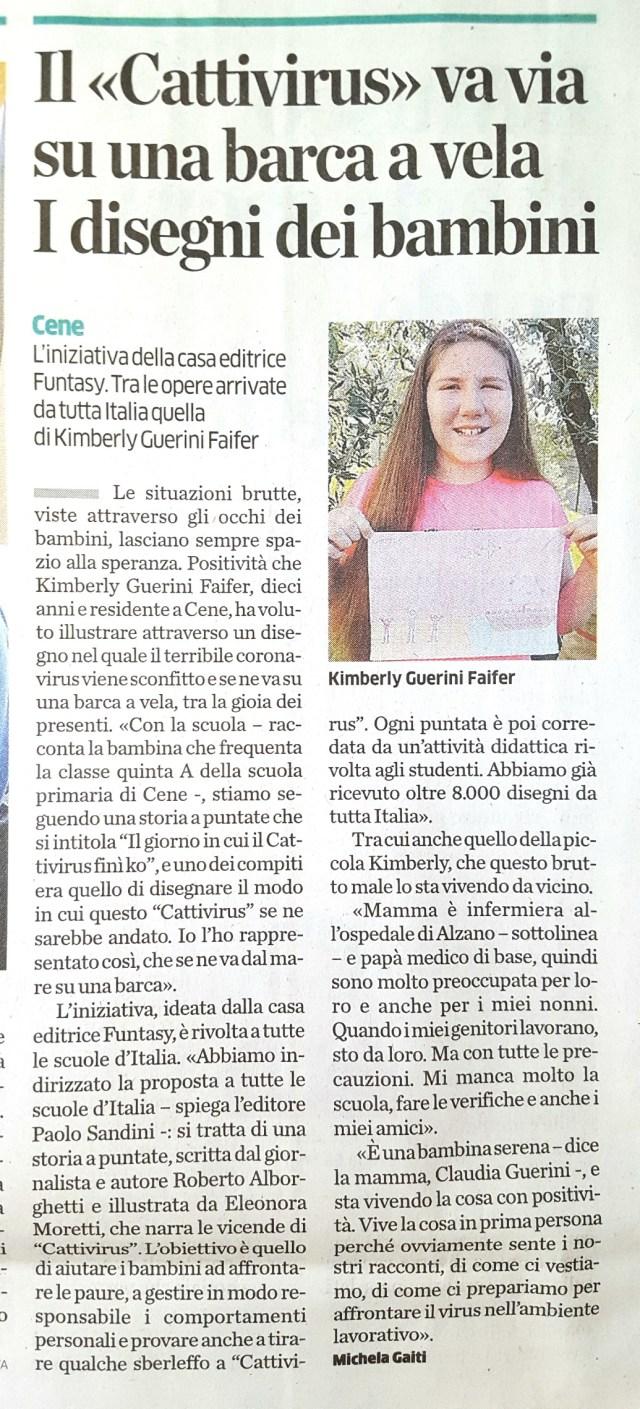L'Eco di Bergamo Kimberly 11 4 2020