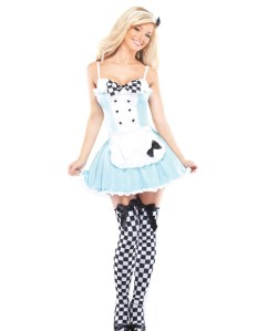 alice stretch dress w/attached apron, tights, & headband