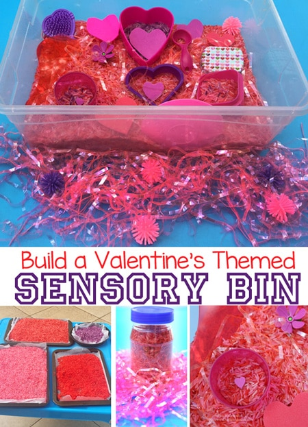 Learn how easy it is to make a valentines day themed sensory bin that is perfect for toddlers, preschool and elementary aged children to explore.