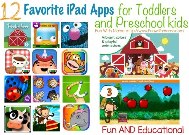 best favorite children's ipad apps for toddlers and preschool kids age 1 2 3 and 4 year old
