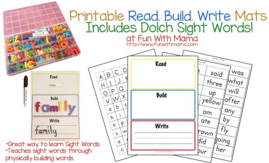 Printable Read Build Write Mats that Include Dolce Sight Words is perfect for kindergarten and first graders wanting to improve their reading fluency, learn spelling, and so much more!