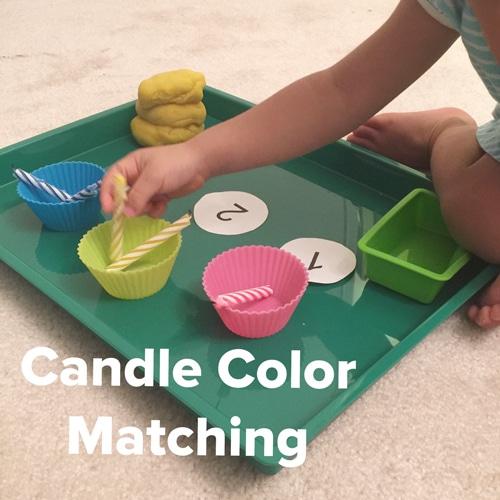 Toddler color matching candle and cupcake tin activity
