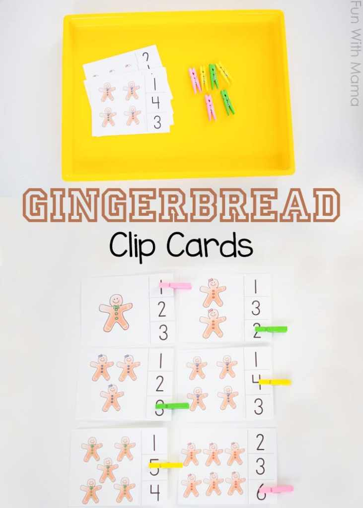 These preschool gingerbread clip cards are great for early math skills including number recognition and one on one correspondence.