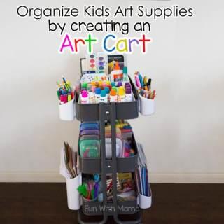 Organize Kids Art Supplies With an Art Cart